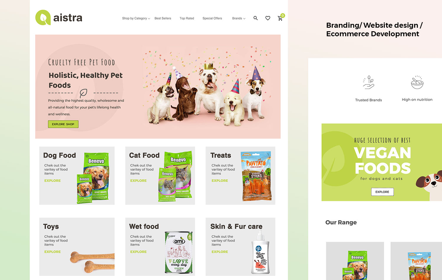 Ecommerce Website and branding for a Pet food Mumbai India